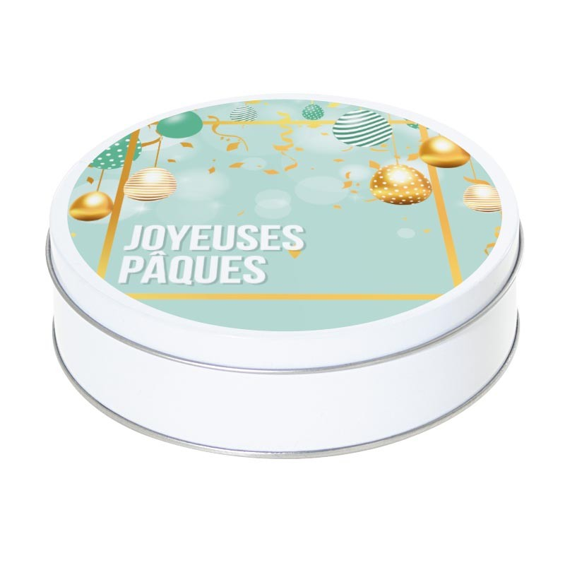 Boîte ronde métallique empilable Caméléon I-39 - Joyeuses Pâques