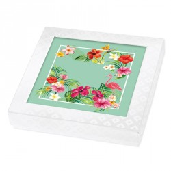 Carte Caméléon D-14   Flamant Rose et flore tropicale luxuriante