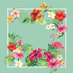 Carte Caméléon D-14 | Flamant Rose et flore tropicale luxuriante