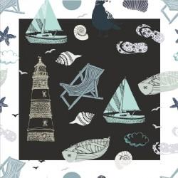 Carte Caméléon D-15 | Illustration L'été au bord de la mer