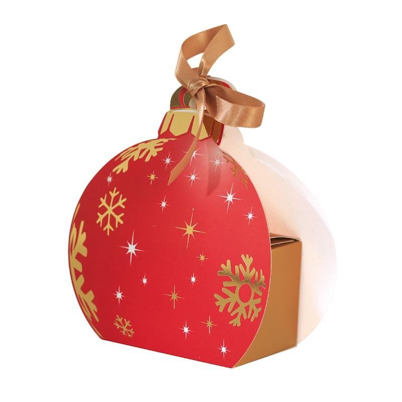 Packaging petits contenants chocolats - Boîte boule de Noël Rouge