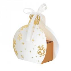 Packaging petits contenants chocolats - Boîte Boule de Noël Blanche