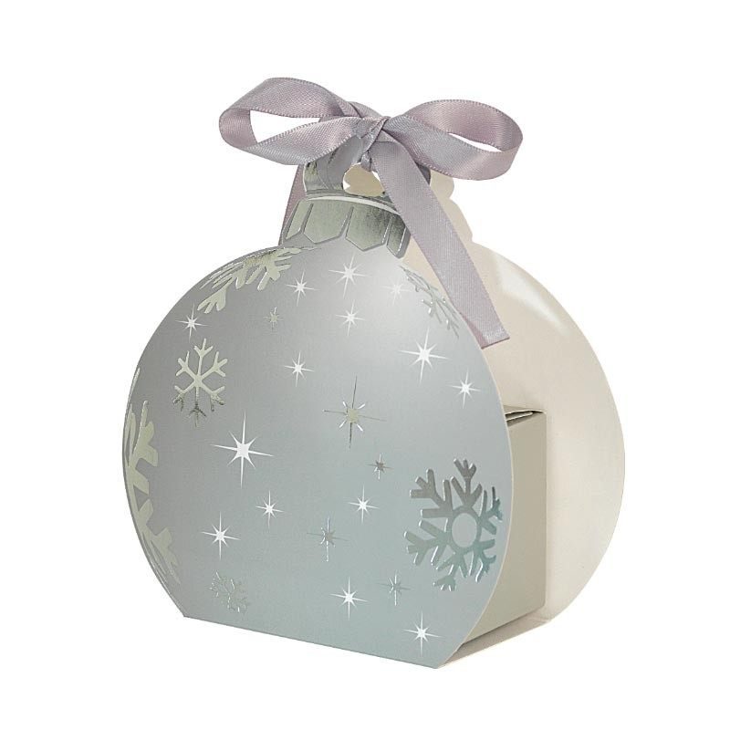 Packaging petits contenants chocolats - Boîte boule de Noël Argent