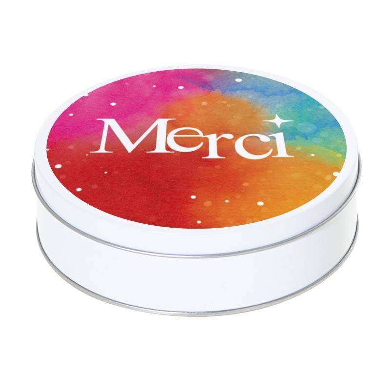 """Boîte ronde métallique Caméléon I-30 - Packaging pour dire """"Merci"""""""