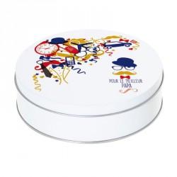Boîte ronde métallique Caméléon I-21 - Pour le meilleur Papa version Hipster