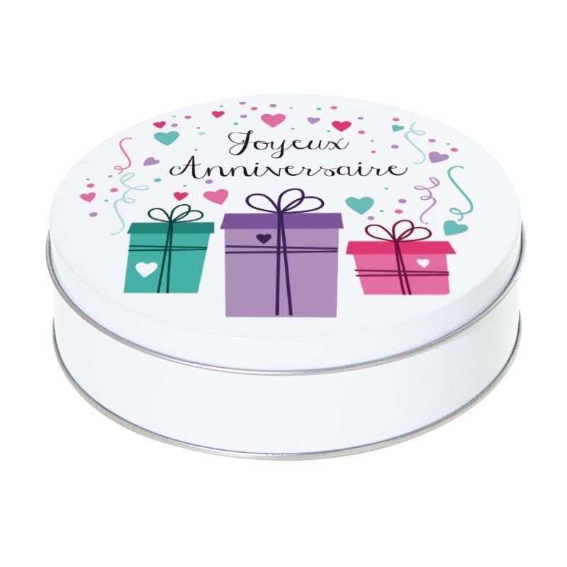 Boîte ronde métallique Caméléon I-11 - Motif Joyeux anniversaire