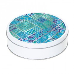 Boîte ronde métallique Caméléon H-08 - Abstraction psychédélique bleue