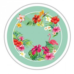 Boîte ronde métallique Caméléon D-14 - Flamant Rose et flore tropicale