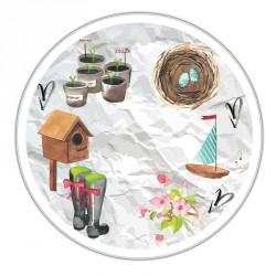 Boîte ronde métallique C-02 - Motif Les incontournables du printemps
