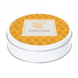 Boîte ronde métallique Caméléon B-04 - Graphisme Cabosses de Cacao