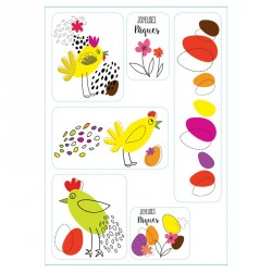 """Planche de Stickers """"Les Aventures des Jacquotte"""" - Déco pour Pâques"""