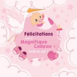 Packaging personnalisé pour Cadeau Naissance - Carte Caméléon I-51 version fille