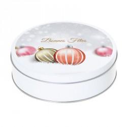 Boîte ronde métallique Caméléon G-07 - Bonnes Fêtes - Boules de Noël