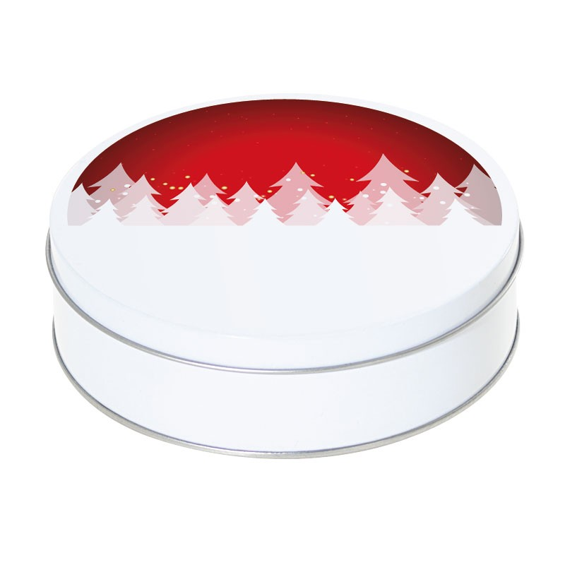 Boîte ronde métallique Caméléon G-09 - Motif sapins blancs, fond rouge