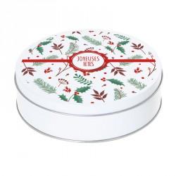 Boîte ronde métallique Caméléon - G-08 - Joyeuses Fêtes - Houx & Sapin