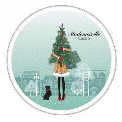 Boîte ronde métallique Caméléon F-04 - Mademoiselle Cacao fête Noël