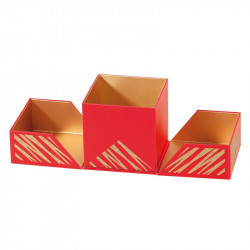 Emballage alimentaire cubique pour chocolatier - Baudelaire Granity Red and Gold - Ouverte