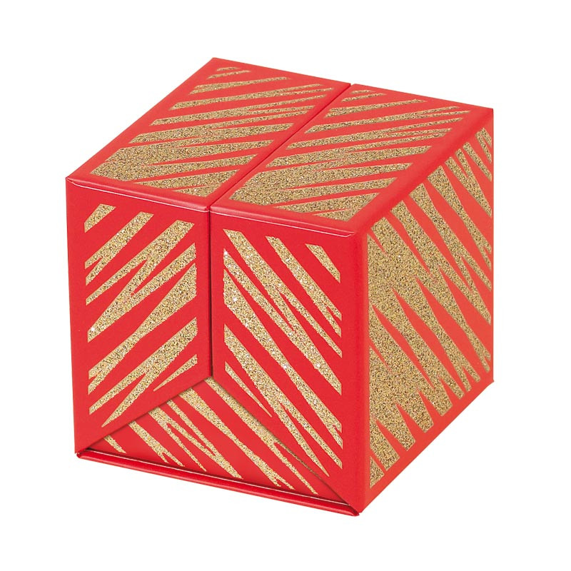 Emballage alimentaire cubique pour chocolatier - Baudelaire Granity Red and Gold