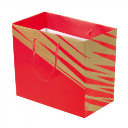 Packaging pour artisans chocolatiers - Sac cabas Granity Red and Gold - Devant du Sac