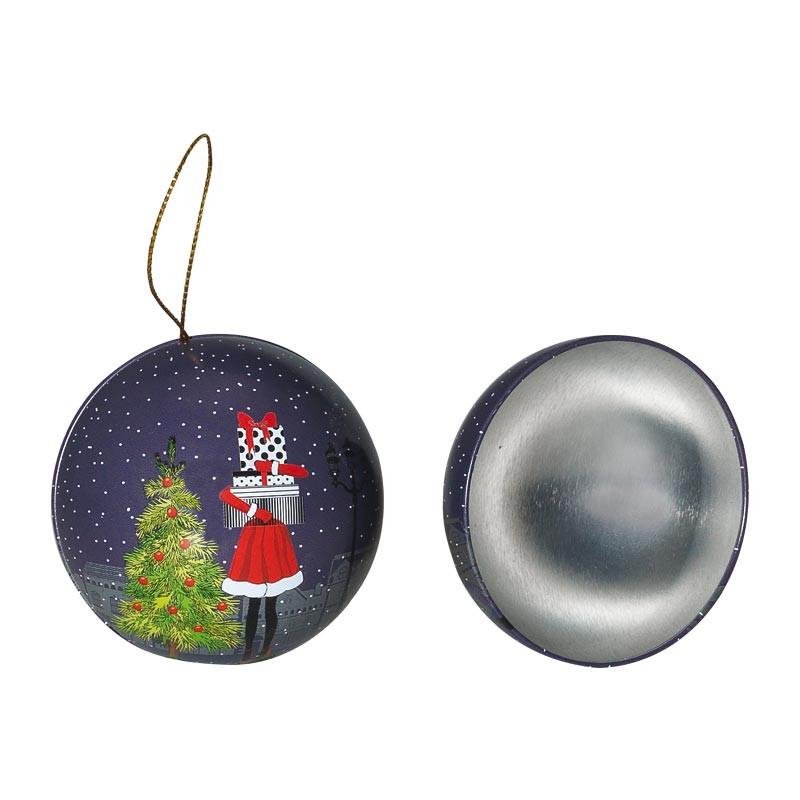 Boîte boule métallique Santa Claus - Packaging luxe chocolatiers Confiseurs