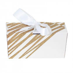 Packaging chocolatiers pâtissiers - Ballotin Ruban Granity White and Gold - Face Avant