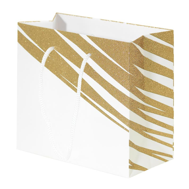 Packaging pour artisans chocolatiers - Sac cabas Granity White and Gold - Devant du Sac