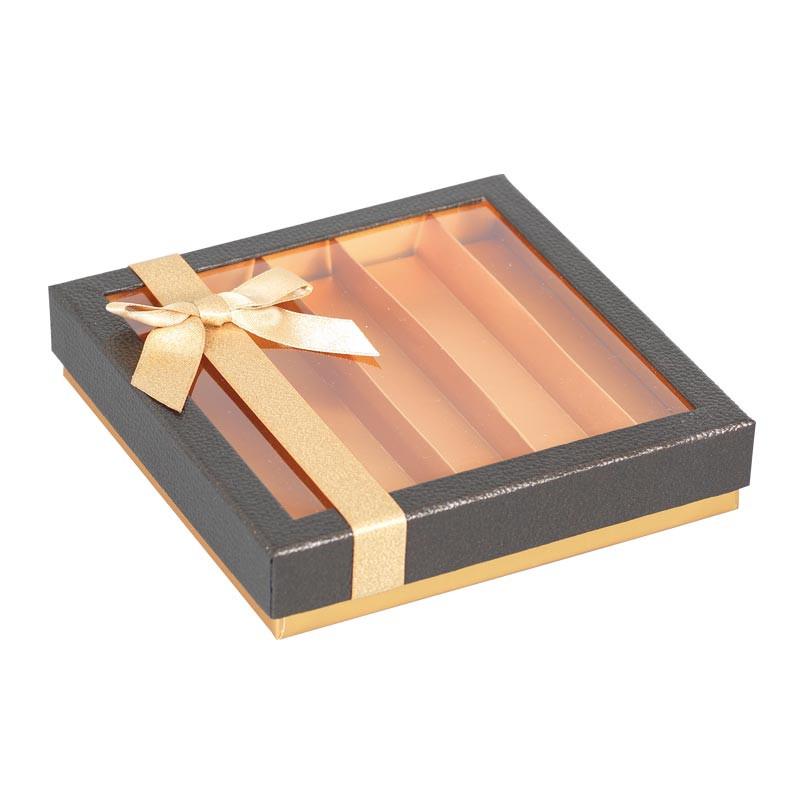 Molière Écrin - Boîte carrée au design cuir et or pour chocolatiers