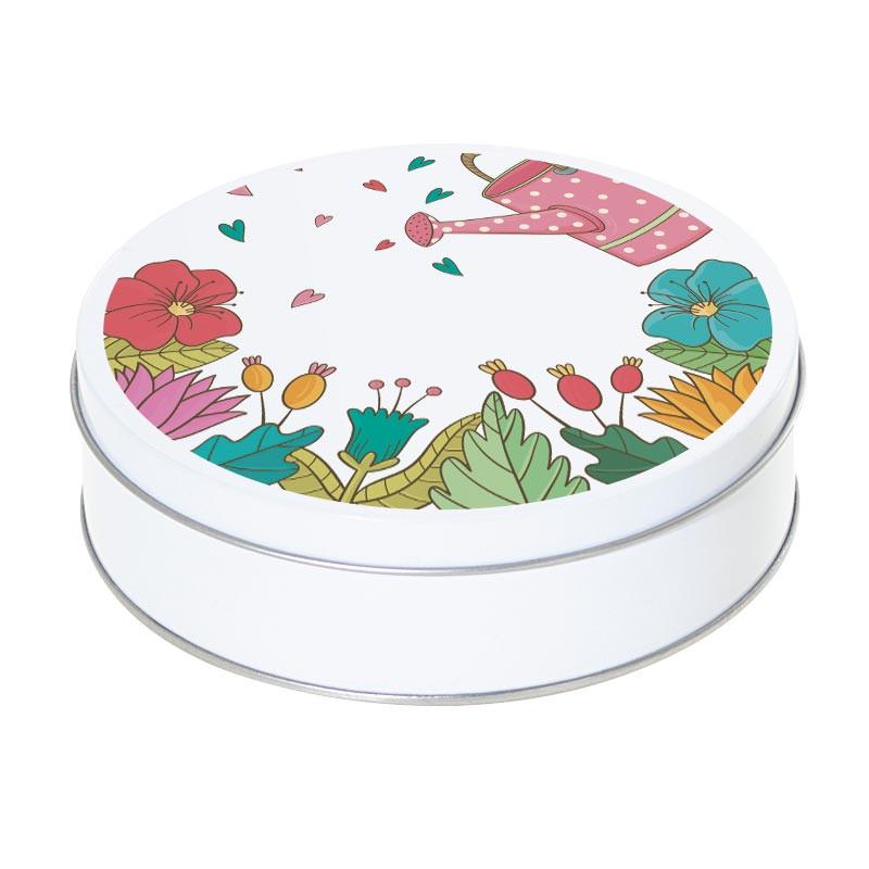 Boîte ronde métallique Caméléon C-12 - Motif arrosoir et fleurs