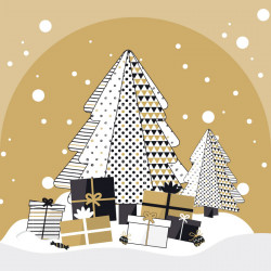 Carte Caméléon G-26 - Motif sapin de Noël graphique