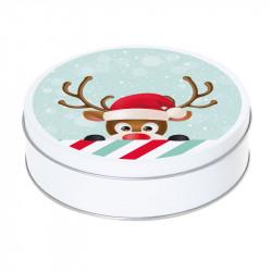 Boîte ronde métallique Caméléon G-21 - Motif renne rigolo de Noël