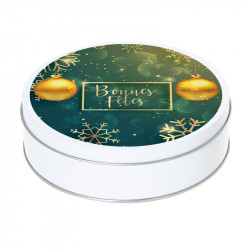 """Boîte ronde métallique Caméléon G-22 - """"Bonnes Fêtes"""""""
