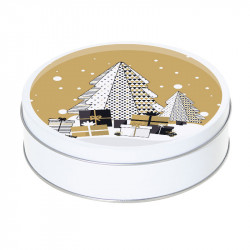 Boîte ronde métallique empilable Caméléon G-26 - Décor Sapin de Noël graphique