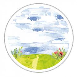 Boîte ronde métallique Caméléon C-04 - Aquarelle Paysage de printemps
