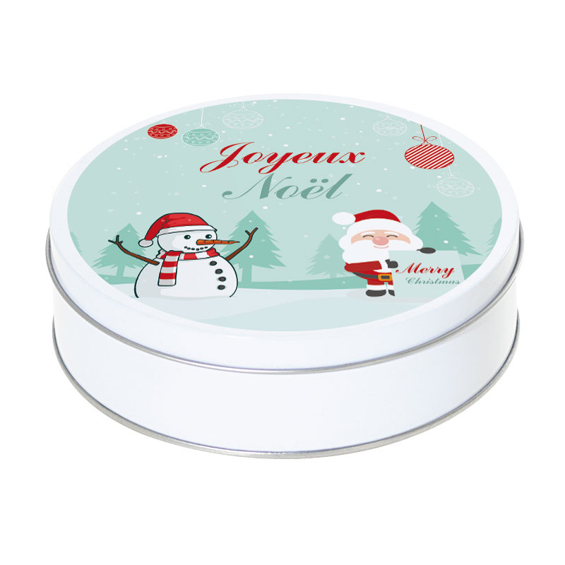 Boîte ronde métallique Caméléon G-23 - Joyeux Noël sous la neige !