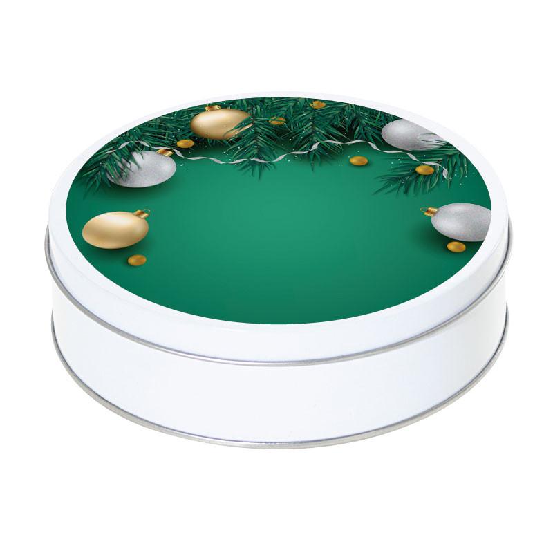 Boîte ronde métallique Caméléon G-05 - Boules de Noël or et argent