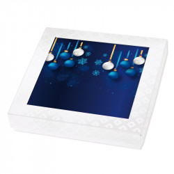 Carte Caméléon G-28 - Chocolatiers   Illustration bleue boules de noël
