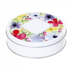 Boîte ronde métallique Caméléon C-06 - Motif Les Fleurs du Printemps