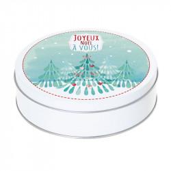 Boîte ronde métallique Caméléon G-04 - Motif Joyeux Noël à vous !