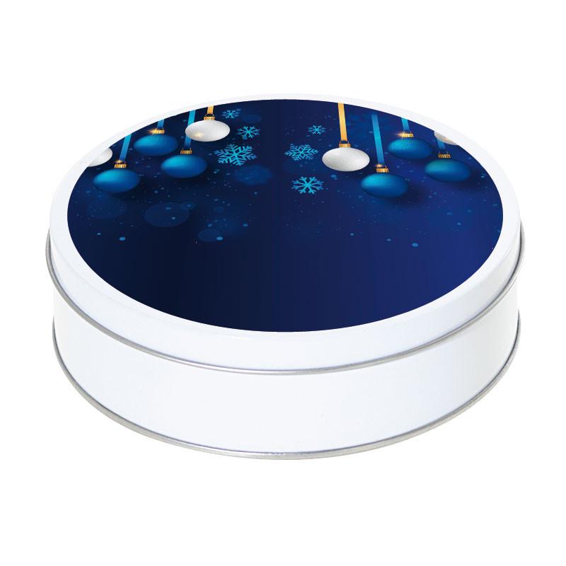 Boîte métallique Caméléon G-28 - Illustration bleue boules de Noël
