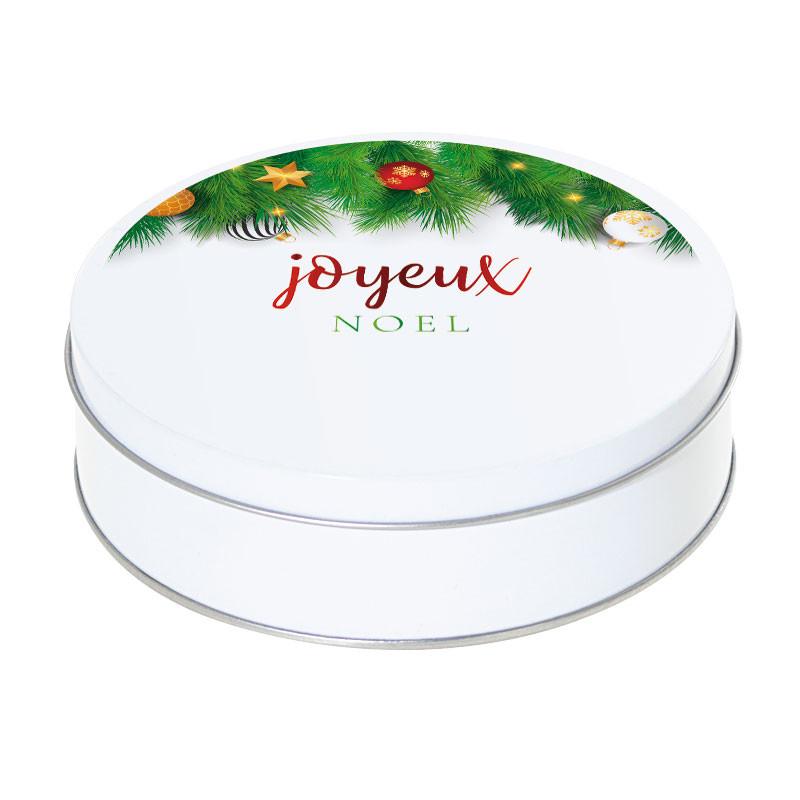 Boîte ronde métallique Caméléon G-29 - Illustration Sapin Joyeux Noël