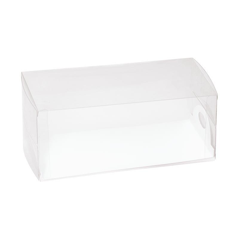Boîte cake transparente avec plateau blanc