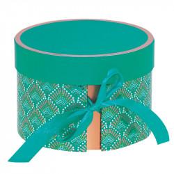 Boîte ronde Élisa 2 compartiments, Ruban vert, Packaging pour macarons