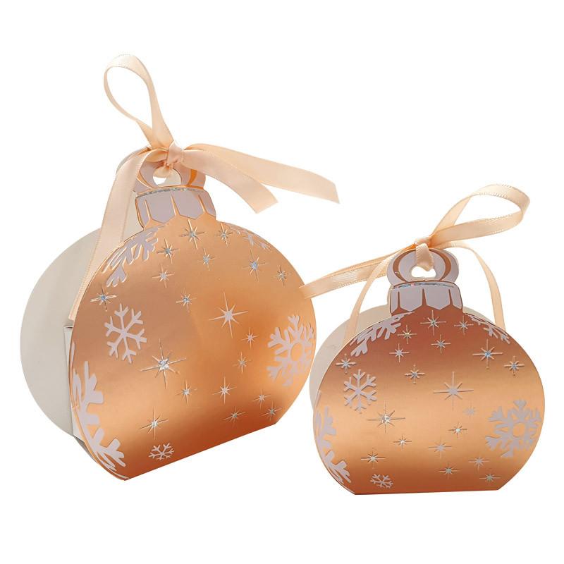 Packaging petits contenants chocolats - Boîte boule de Noël Or Rosé