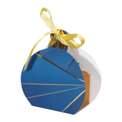 Packaging petits contenants chocolats - Boîte boule de Noël Bleu Nuit