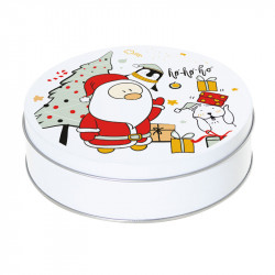 Boîte ronde métallique Caméléon G-30 - Illustration Noël