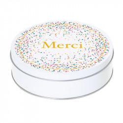 """Boîte ronde I-54 - """"Merci ! """" pour chocolatiers / pâtissiers"""