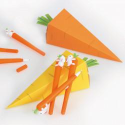 """Kit """"Les Carottes en folie"""" - Des Packagings clé en main pour Pâques - 6 Stylos carottes offerts !"""