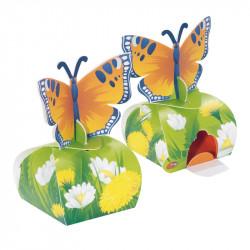 Packaging - avec décor papillons - qui distribue des petits œufs de Pâques