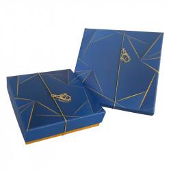 Molière Géométrika - Boîte carrée bleu électrique et or