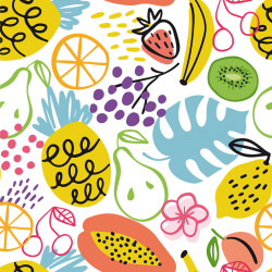 Carte Caméléon D-16 | Illustration Fleurs et Fruits
